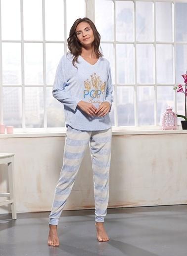 Sevim Baskılı Pijama Takım Mavi